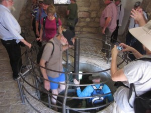 We descended the circular stairs to Hezekiah's tunnel.