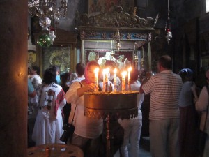 Visitors lighted candles and sang hymns.