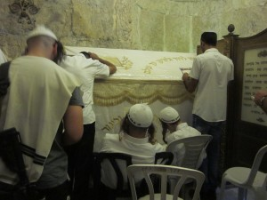 Hasids pray at King David's Tomb.