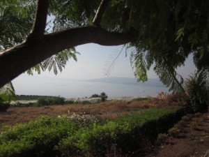 The Sea of Galilee is surrounded by hills.