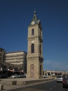 The clock tower dates from Ottoman times.