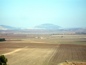 Mount Tabor can be seen from Tel Megiddo (Joe Freeman photo).