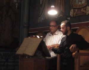 Two cantors sing at Mar Elias Monastery.