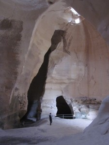 The Bell Caves were carved in chalky limestone.