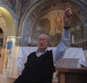 Father Domenico explained about the first martyr.