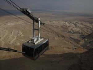 A gondola approaches Masada.